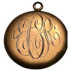 Gold plated antique picture locket: 1.4 inches: monogrammed Old English script