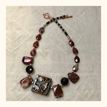 Artisan: brown black and copper glass necklace: OOAK: