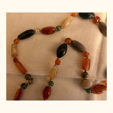 Vintage: 35 inch Semi precious stone necklace: 53 stones of good size: Turkey