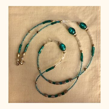 Artisan necklace: Aqua,green glass foil beads seed and silver: 34 inches, OOAK