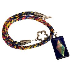 OOAK Artisan Necklace: Silk ribbon Kimohimo: large rectangle glass pendent: primary colors