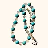 Necklace: Artisan OOAK: Sun desert beads: crystal; 20 inches