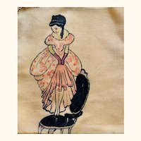 Hand Painted silk hankies: 1950s: Gibson girl