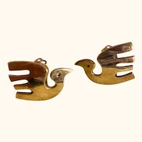 Sterling Silver: Taxco Mexican: Dove earrings: clip: mid centruy