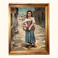 Italian young woman: framed oil painting: 50s-60s: Toledo: John Swalley