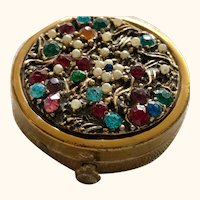 Vintage: Diminutive: Bejeweled powder compact: 30-40s:Made in USA