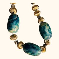 Artisan OOAK necklace: Three large fabric covered beads: Bale silver: 38 inches