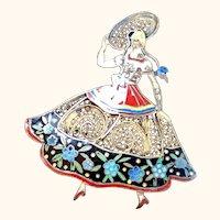 Portugesse  Dancing Senorita Toparzio filigree Pin: vintage: 50s-60s