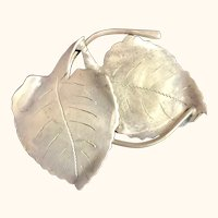 Danish sterling silver handmade leaves pin: Ulrich: vintage:50-60s