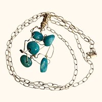 Artisan Necklace: Silver Cloud: Turquoise glass beads: