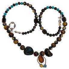 Artisan multi semi precious stone necklace: Pendant sterling silver: 24 inches: OOAK
