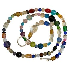Artisan necklace: colored glass beads: semi precious stones: 24 inches: OOKA(one of a kind):fancy toggle