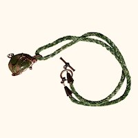 Artisan necklace: green and pink unikite copper wrapped stone: Japanese Kumihimo cord