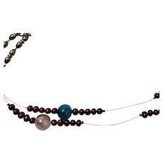 Artisan: Necklace Murano beads: cranberry dyed cultured pearls: silver plated beads: sterling silver wire.OOAK
