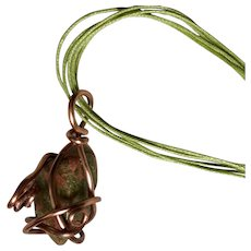 Artisan OOAK necklace: Green and Pink Unikite semi precious pendant: Wrapped in copper 19 inches
