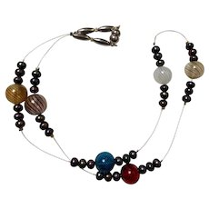 Artisan necklace: Murano beads: cultured pearls: sterling silver wire: 24 inches