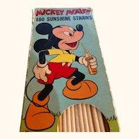 Disney Mickey Mouse original box: 100 paper straws: 50s