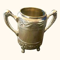 Antique Wilcox silver plate sugar bowl: floral design: