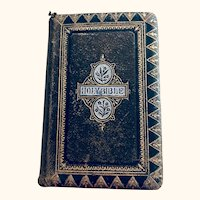 Diminutive leather bound pocket bible: gold design tooled: 1870s-1880s
