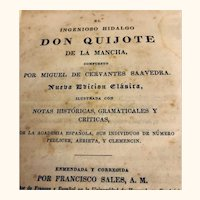 Antique Don Quijote: 1842:Spanish edition: pub by Crocker and Brewster