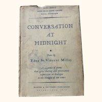 Conversation at Midnight: Edna St. Vincent Millay: 1937: First Edition: DJ