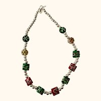 Artisen Christmas necklace:Red Green White lampwork; beads:  silver beads: 20 inches