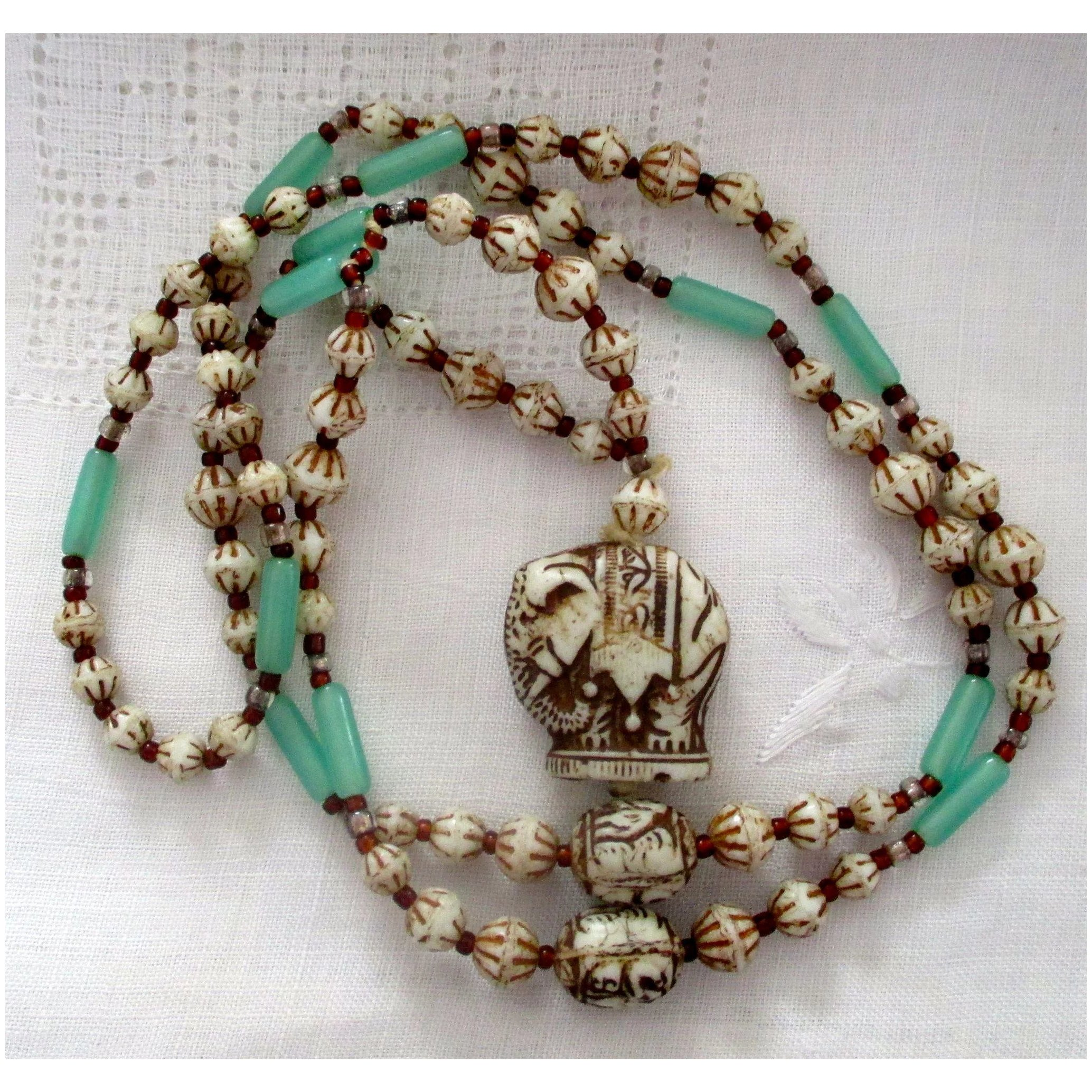Vintage Carved Bone Bead Necklace Painted Beads Jade Bars Carved Jen S Treasures And Jewels Ruby Lane