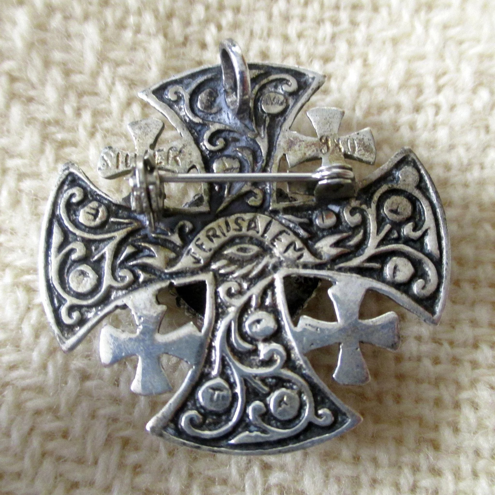 ornate silver jerusalem cross vintage gems blue sterling large crusader pendant pin