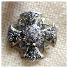 Silver Maltese Cross brooch/pendant: from Jerusalem: 1970s:  3D design very unusual: