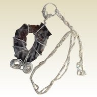 """Artisan Necklace: Slice of a black gray white and copper crystal: geode: wrapped in German wire: fancy twisted 16"""" chain: crystals"""