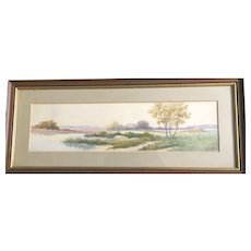 Vintage: Watercolor:  Autumn River Scene painting: Reduced: Ju Clarke: greens, browns, yellows, purples, blues: Wooden layered frame - Red Tag Sale Item