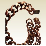 Renoir: heavy link copper bracelet and earrings: mid century: excellent condition: hallmarked: 50s-60s