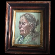 """ON SALE: Charcoal portrait of Native American: Reduced: Ruth S Proctor:1962: Eastlake frame: 2 inches deep"""" gilt, ebony and wooden frame"""