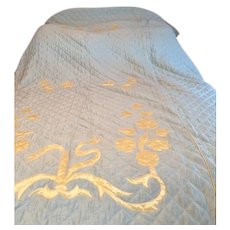 Vintage: Sea foam green and golden yellow twin bedspread: raw silk and satin: fully lined in yellow: quilted: 1930s