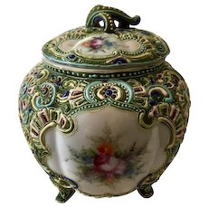 Antique: Japanese  Majolica bowl w/lid: circa late 1800s: hand painted floral side panels