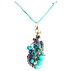 Jeweled free form artisan pendant necklace: Handcrafted: Aqua, amethyst, blue: natural stones, glass: copper wire: aqua leather adjustable cord