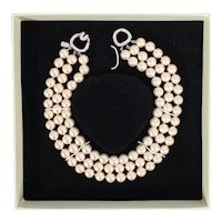 Kenneth Jay Lane NIB 3 Row Barbara Bush Pearl Necklace