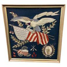 American Patriotic Navy Silk Embroidery circa 1800s