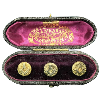 Masonic Gold-Filled Buttons & Presentation Case c. late 1800s