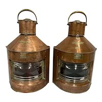 Copper Meteorite Nautical Ships Navigational Oil Lanterns Circa 1890s