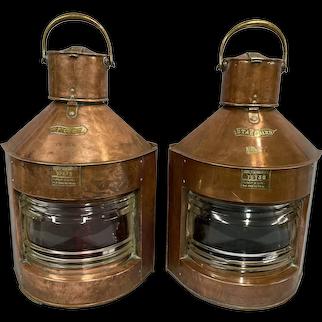 Copper Meteorite Nautical Ships Navigational Oil Lanterns Circa 1890s