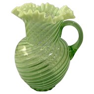 Fenton Green Opalescent Spiral Optic Pitcher c. 1939