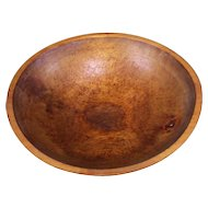 Antique 1800s New England Hand Turned Wooden Dough Bowl