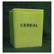 Square Jadite Cereal Canister, Floral Lid, Jeannette Glass Co.