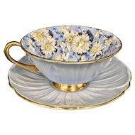 Shelley Blue Daisy Chintz Cup & Saucer Oleander Shape