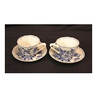 Blue Danube (Onion) Japan Cup & Saucer Banner Mark, set of 2