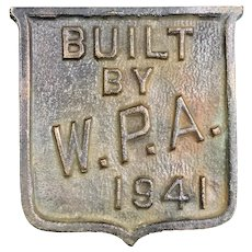 Work Projects Administration Brass Plaque 1941