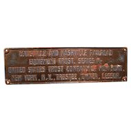 Cast Iron Louisville Nashville Railroad Plaque