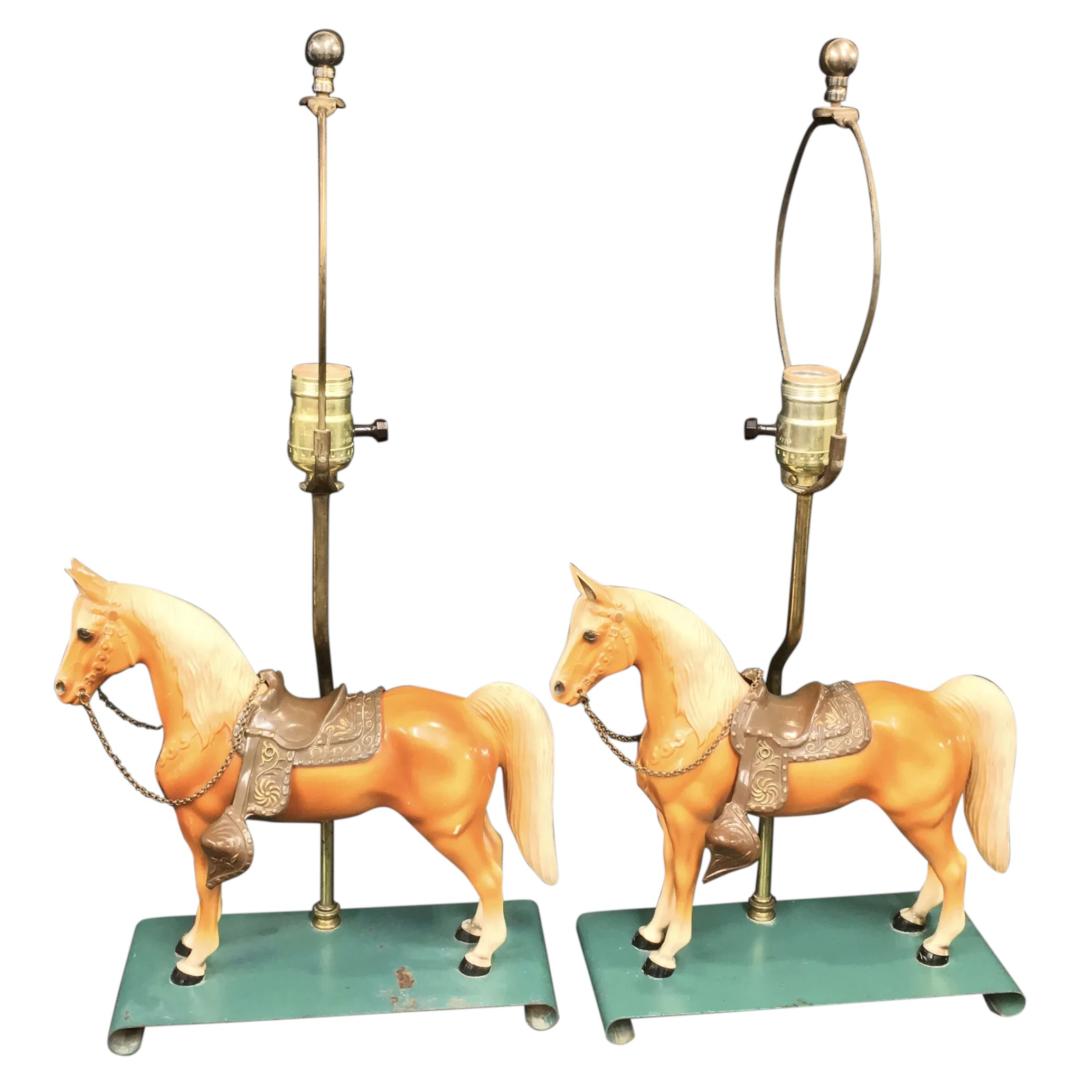 Pair Of Breyer 57 Western Horse Table Lamps 1951 53 Village Antiques Llc Ruby Lane