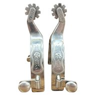 Vintage Kelly Spurs w/ Engraved Silver Overlays
